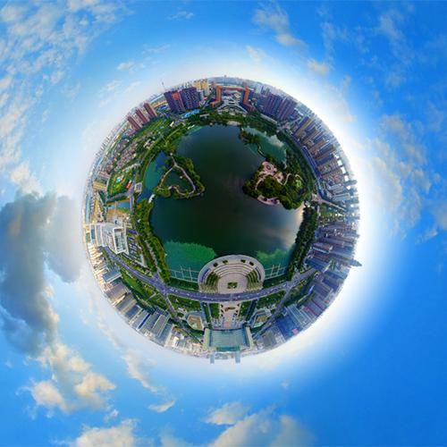 五洲湖航拍 全景云 全景vr图片 虚拟现实 vr 360°