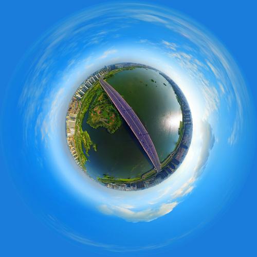 祊河大桥航拍 全景云 全景vr图片 虚拟现实 vr 360°